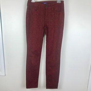 NYDJ burgundy damask skinny jeans jeggings 0